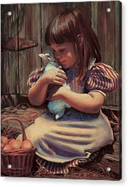Girl With A Bunny Acrylic Print by Jean Hildebrant