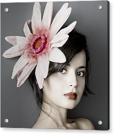 Girl With Flower Acrylic Print by Emma Cleary