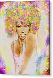 Girl With New Hair Style Acrylic Print by Lilia D