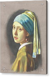 Girl With Pearl Earring By Vermeer Acrylic Print by Kean Butterfield