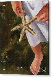 Girl With Starfish Acrylic Print by Sheryl Heatherly Hawkins