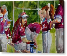 Girls Softball  Acrylic Print by Linda Emerson