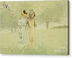 Girls Strolling In An Orchard Acrylic Print by Winslow Homer