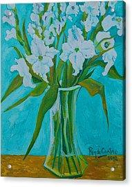 Gladiolas On Blue Acrylic Print by Pilar Rey de Castro