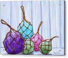 Glass Bouys Acrylic Print by Pauline Ross