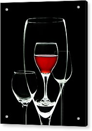 Glass Of Wine In Glass Acrylic Print by Tom Mc Nemar