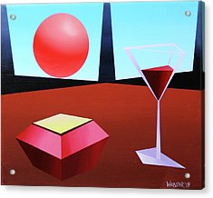 Glass Of Wine On Planet X Acrylic Print by Mark Webster