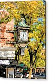 Glen Ellyn Corner Clock Acrylic Print by Christopher Arndt
