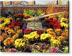 Glen Ellyn Millennium Flower Clock Acrylic Print by Christopher Arndt
