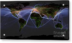 Global Transportation Map Acrylic Print by Felix PD and Globaia