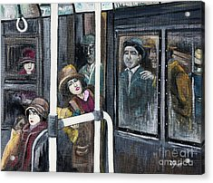 Gloria Swanson In Subway Scene From Manhandled Acrylic Print by Reb Frost