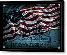 God Country Notre Dame American Flag Acrylic Print by John Stephens