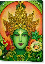 Goddess Green Tara's Face Acrylic Print by Sue Halstenberg
