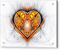 Gold And Sapphire Heart  Acrylic Print by Sandra Bauser Digital Art