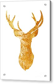 Gold Deer Silhouette Watercolor Art Print Acrylic Print by Joanna Szmerdt