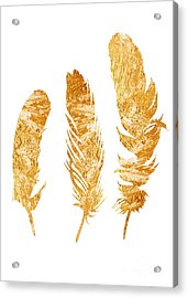 Gold Feathers Watercolor Painting Acrylic Print by Joanna Szmerdt
