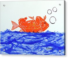 Gold Fish Acrylic Print by International Artist Brent Litsey