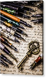 Gold Key And Fountain Pens Acrylic Print by Garry Gay