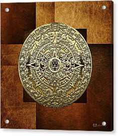 Gold Mayan-aztec Calendar On Brown Leather Acrylic Print by Serge Averbukh