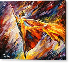 Gold Wave - Palette Knife Oil Painting On Canvas By Leonid Afremov Acrylic Print by Leonid Afremov
