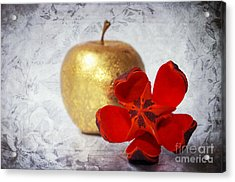 Golden Apple Acrylic Print by Angela Doelling AD DESIGN Photo and PhotoArt
