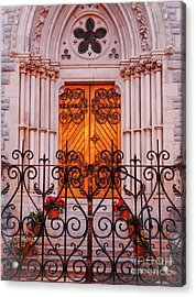 Golden Church Door Acrylic Print by Lexa Harpell