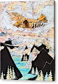 Golden Eagle Flies Above Clouds And Mountains Acrylic Print by Carol  Law Conklin