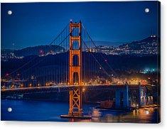 Golden Gate Bridge Blue Hour Acrylic Print by Paul Freidlund