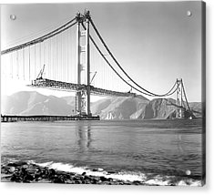 Golden Gate Bridge Construction 1937 Acrylic Print by Daniel Hagerman