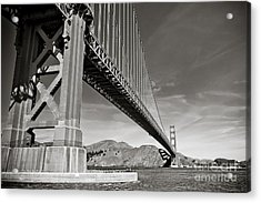 Golden Gate From The Water - Bw Acrylic Print by Darcy Michaelchuk
