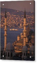 Golden Horn At Sunset From Suleymaniye Acrylic Print by Richard Nowitz