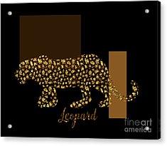 Golden Leopard Modern Gilt Wild Cat, Gold Black Brown Acrylic Print by Tina Lavoie