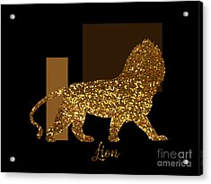 Golden Lion Modern Composition, Gold Black Brown Acrylic Print by Tina Lavoie