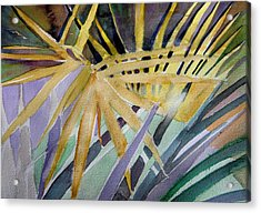 Golden Palms Acrylic Print by Mindy Newman