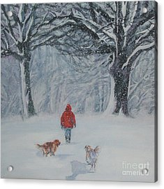 Golden Retriever Winter Walk Acrylic Print by Lee Ann Shepard