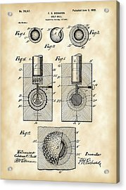 Golf Ball Patent 1902 - Vintage Acrylic Print by Stephen Younts