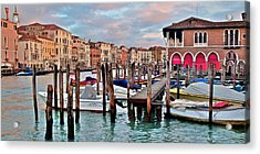 Gondola Mooring Poles Acrylic Print by Frozen in Time Fine Art Photography