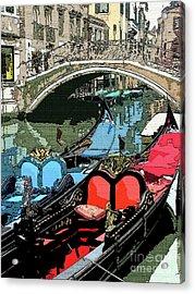 Gondolas Fresco  Acrylic Print by Mindy Newman