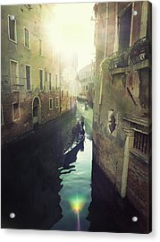 Gondolas In Venice Against Sun Acrylic Print by Marco Misuri