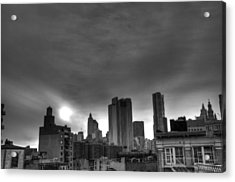 Gotham Black And White Acrylic Print by Randy Aveille