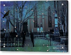 Gothic Surreal Ravens Crows Cemetery Landscape Acrylic Print by Kathy Fornal