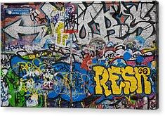 Grafitti On The U2 Wall, Windmill Lane Acrylic Print by Panoramic Images