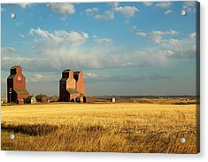 Grain Elevators Stand In A Prairie Acrylic Print by Pete Ryan