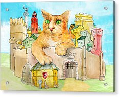 Fanciful Cat Acrylic Print featuring the painting Grand Duchess Of Orange. by John Gieg