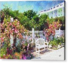 Grand Hotel Gardens Mackinac Island Michigan Acrylic Print by Betsy Foster Breen