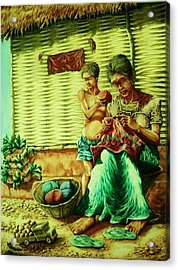 Granny And Grand Son Acrylic Print by Pralhad Gurung