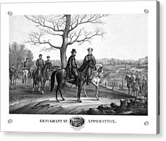 Grant And Lee At Appomattox Acrylic Print by War Is Hell Store