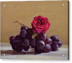 Grapes And Rose Acrylic Print by Ben Hubbard