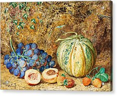 Grapes And Strawberries Acrylic Print by Thomas Collier