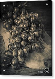 Grapes Still Life With Olive Board Acrylic Print by Edward Fielding